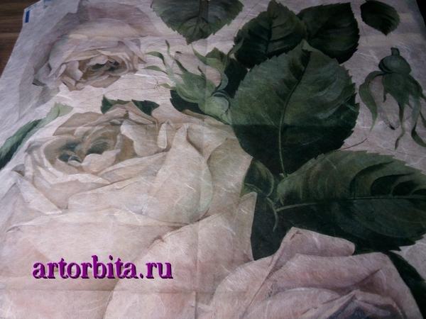 Рисунок.  Декупажная карта.  Декупаж на деревянной доске - белые розы.