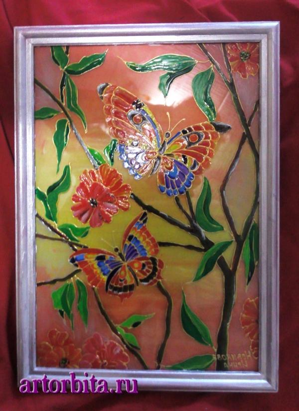 Рисунок. Бабочки на закате - роспись по стеклу