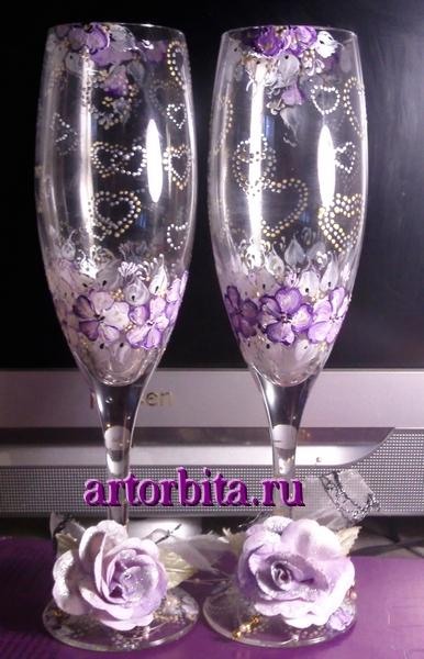 Свадебные бокалы - роспись по стеклу