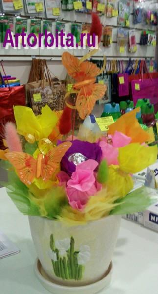 Конфетный букет с бабочками