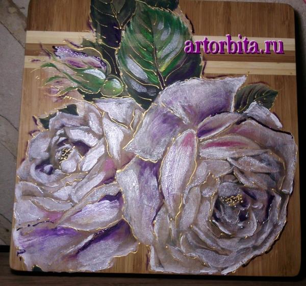 Рисунок.  Готовая работа.  Декупаж на деревянной доске - белые розы.