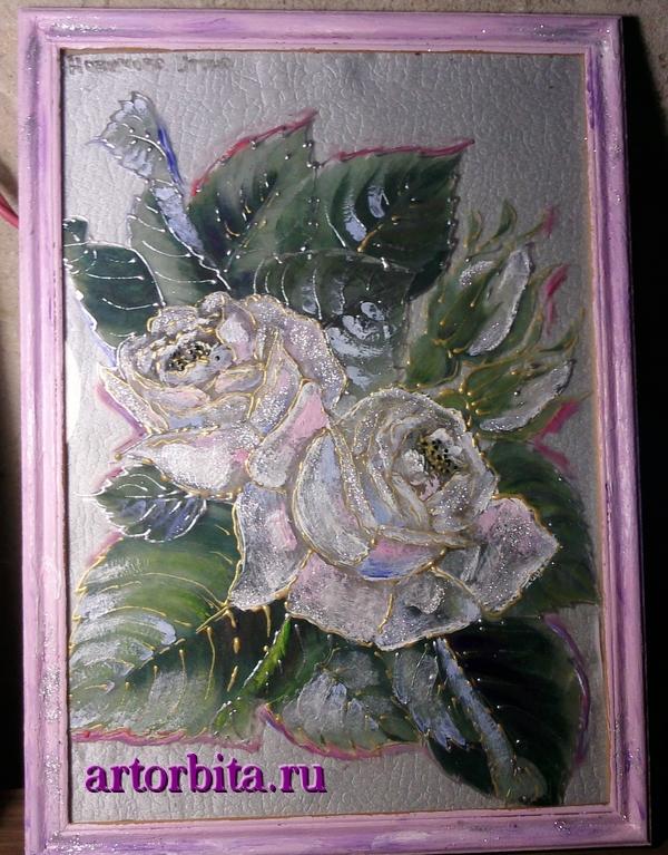 Декупаж на стеклянной поверхности. Розы