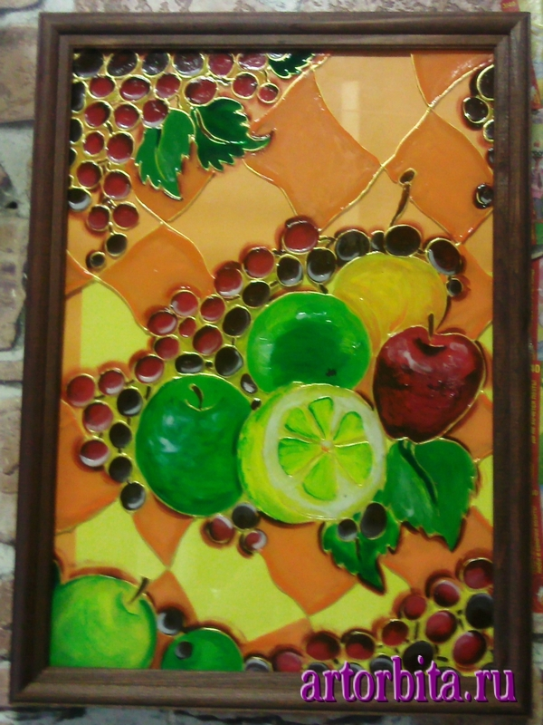 Рисунок. Композиция с фруктами - роспись по стеклу