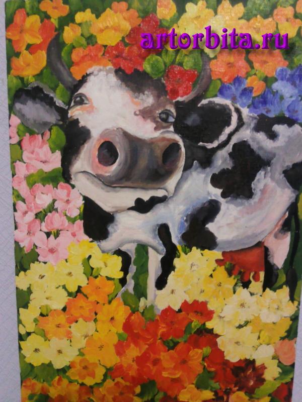 Корова - работа маслом