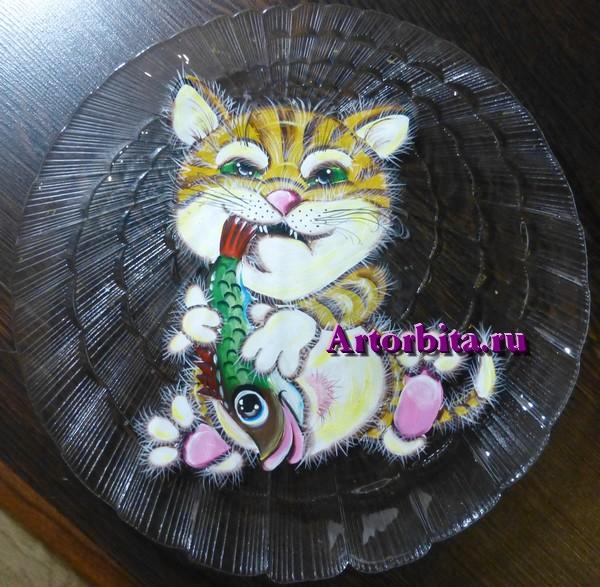 Кот-рыбак - роспись по стеклу