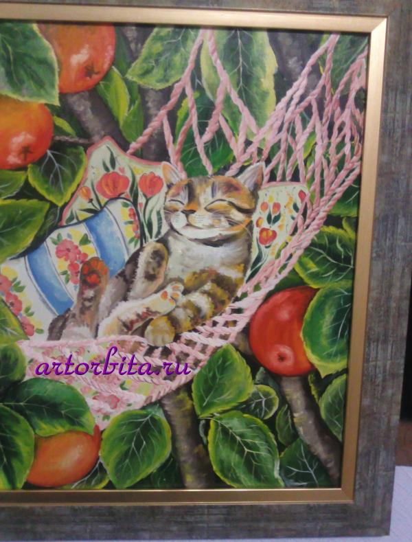 Кот в гамаке - работа маслом