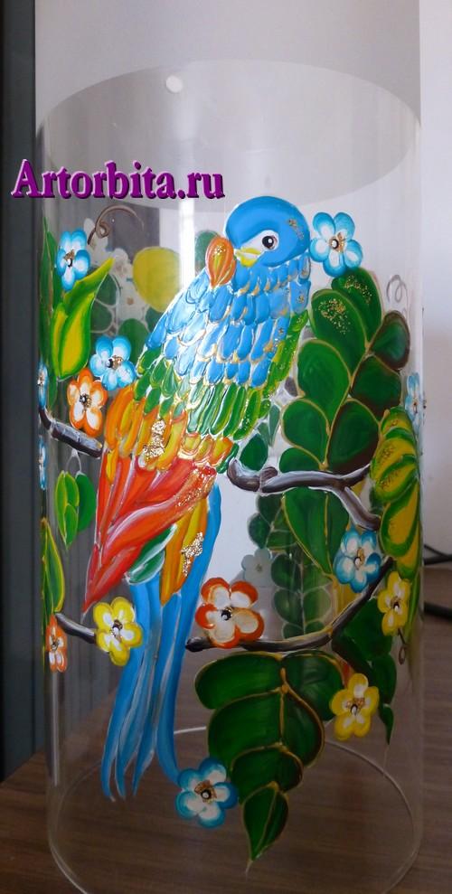 Светильник с попугаями - вид 1 - роспись по стеклу