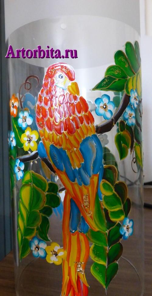 Светильник с попугаями - вид 2 - роспись по стеклу