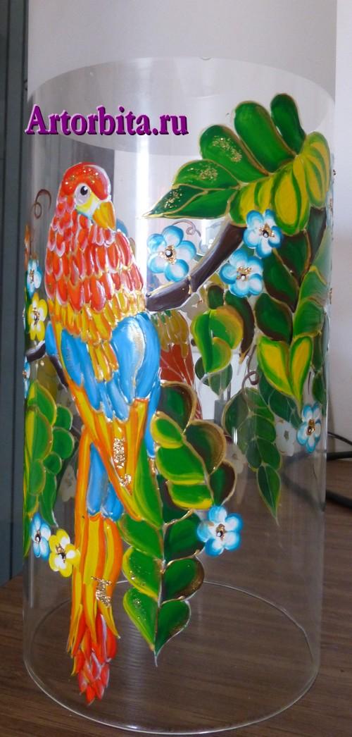 Светильник с попугаями - вид 3 - роспись по стеклу