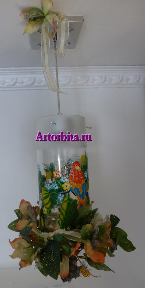 Светильник с попугаями - вид 4 - роспись по стеклу