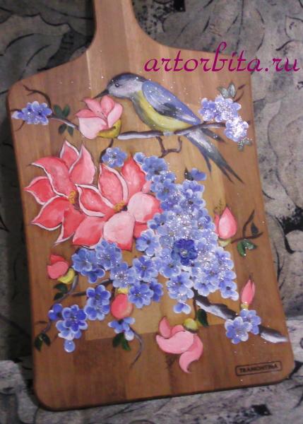 Птица с цветами - работа маслом