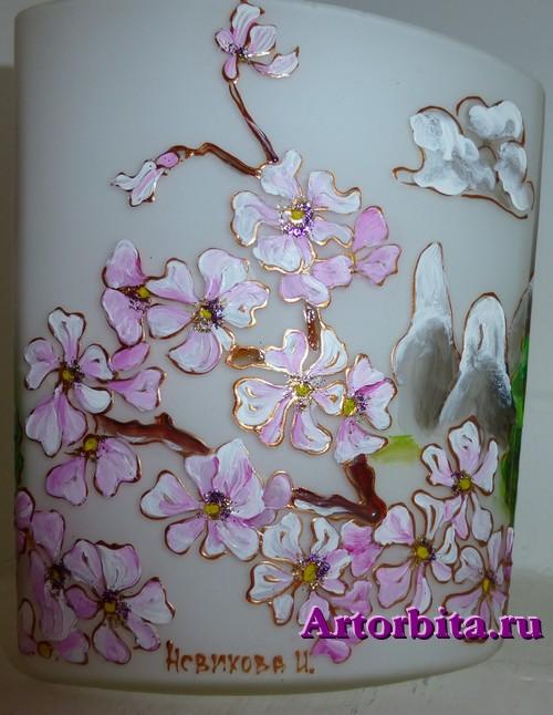 Плафон в китайском стиле - вид 3 - роспись по стеклу