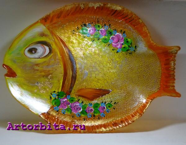 Золотая рыбка - роспись по стеклу