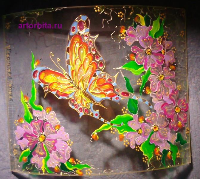 Яркая бабочка - роспись по стеклу