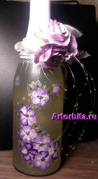 Свадебное шампанское - роспись по стеклу