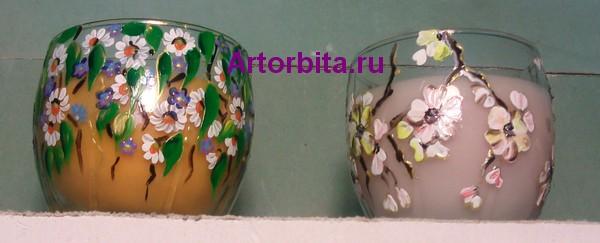 Ароматизированные свечи - роспись по стеклу