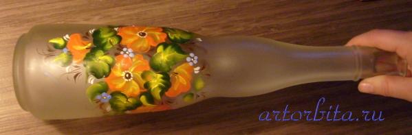 Фигурная бутылка - роспись по стеклу