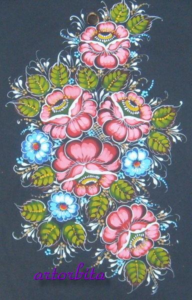 Точечные цветы - рисунок - разделочная ...: artorbita.ru/tipy_rospisi/foto_doska21.html