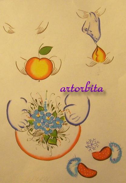 Примеры рисования ручек - рисунок - Матрешка - элементы росписи...
