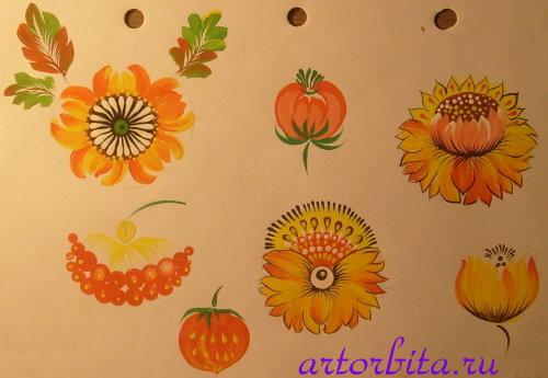 Рисунок. Варианты цветов - петриковская роспись