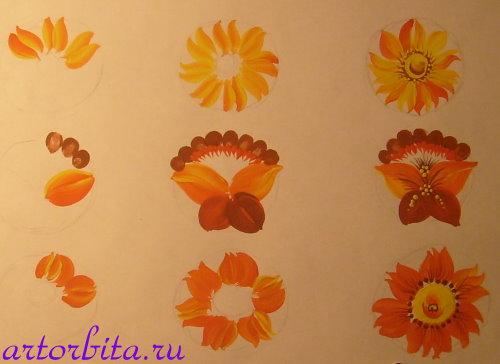Рисунок. Раскладка цветов - петриковская роспись