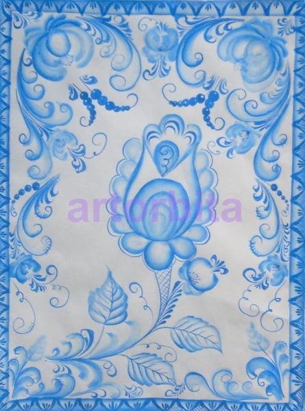Цветок - рисунок - Гжель - элементы и ...: artorbita.ru/tipy_rospisi/pic_gzhel/pic.html