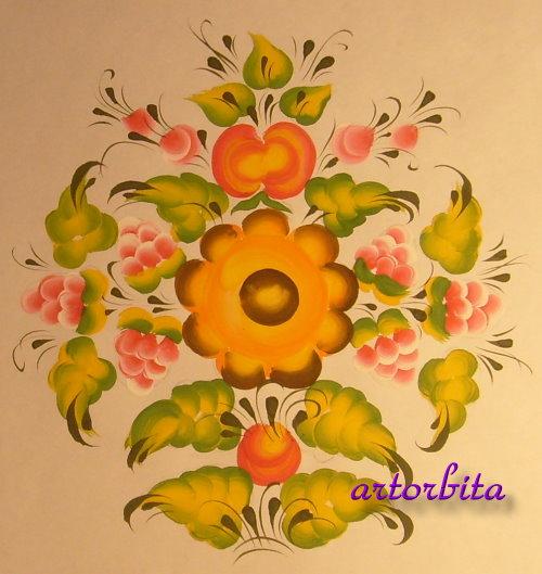 Рисунок сердечка с цветком